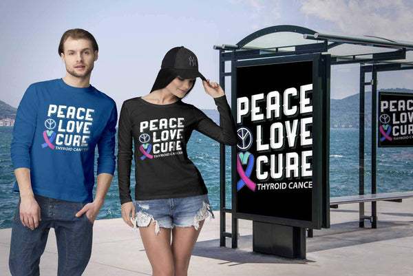 Peace Love Cure Thyroid Cancer Awareness Teal Pink Blue Ribbon Gift Long Sleeve-T-shirt-JoyHip.Com