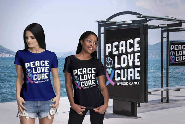 Peace Love Cure Thyroid Cancer Awareness Teal Pink & Blue Ribbon Gift TShirt-T-shirt-JoyHip.Com