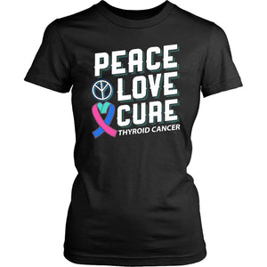 Peace Love Cure Thyroid Cancer Teal Pink & Blue Ribbon Awesome Women TShirt-T-shirt-District Womens Shirt-Black-JoyHip.Com