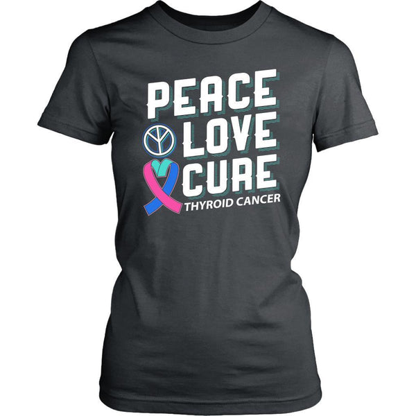 Peace Love Cure Thyroid Cancer Teal Pink & Blue Ribbon Awesome Women TShirt-T-shirt-District Womens Shirt-Grey-JoyHip.Com