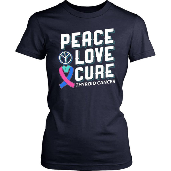 Peace Love Cure Thyroid Cancer Teal Pink & Blue Ribbon Awesome Women TShirt-T-shirt-District Womens Shirt-Navy-JoyHip.Com