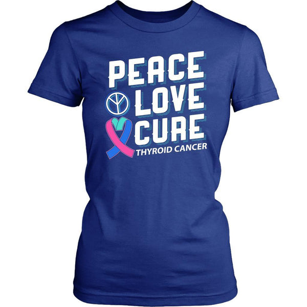 Peace Love Cure Thyroid Cancer Teal Pink & Blue Ribbon Awesome Women TShirt-T-shirt-District Womens Shirt-Royal Blue-JoyHip.Com