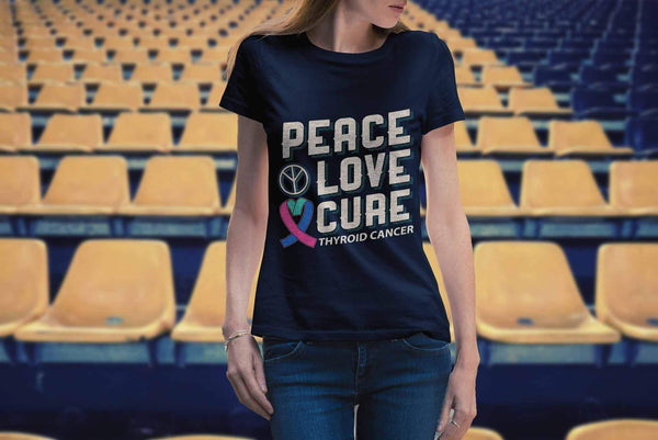 Peace Love Cure Thyroid Cancer Teal Pink & Blue Ribbon Awesome Women TShirt-T-shirt-JoyHip.Com