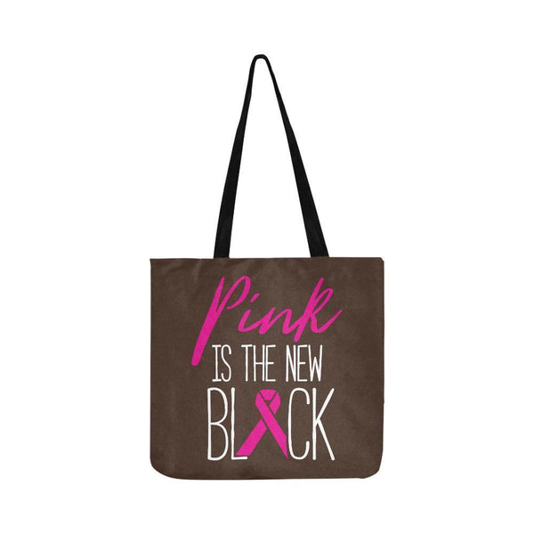 Pink Is The New Black Breast Cancer Shopping Grocery Reusable Produce Bags-One Size-Brown-JoyHip.Com