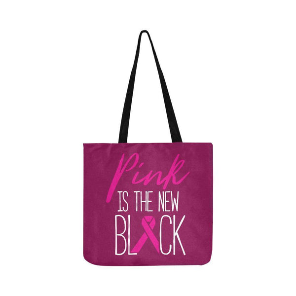 Pink Is The New Black Breast Cancer Shopping Grocery Reusable Produce Bags-One Size-Maroon-JoyHip.Com