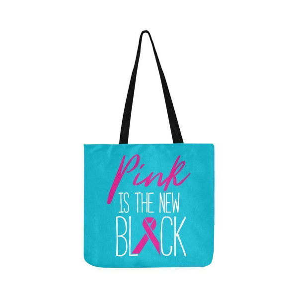 Pink Is The New Black Breast Cancer Shopping Grocery Reusable Produce Bags-One Size-Turquoise-JoyHip.Com