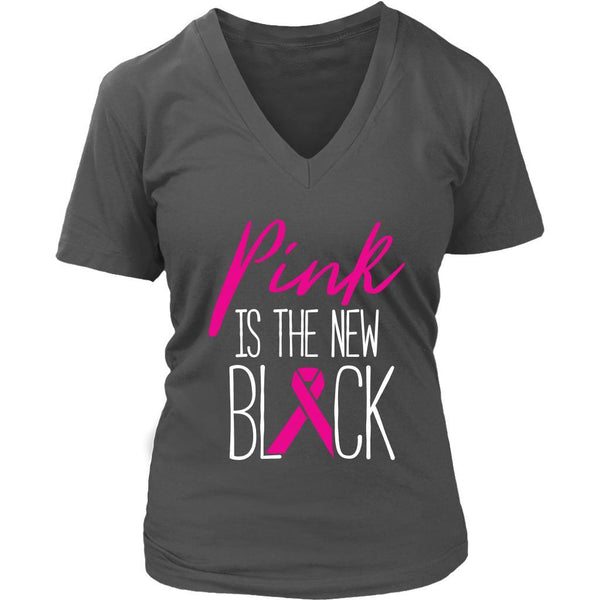 Pink Is The New Black Classic Breast Cancer Awareness Gift Ideas VNeck TShirt-T-shirt-District Womens V-Neck-Grey-JoyHip.Com