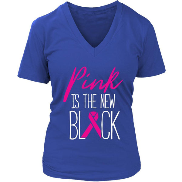 Pink Is The New Black Classic Breast Cancer Awareness Gift Ideas VNeck TShirt-T-shirt-District Womens V-Neck-Royal Blue-JoyHip.Com