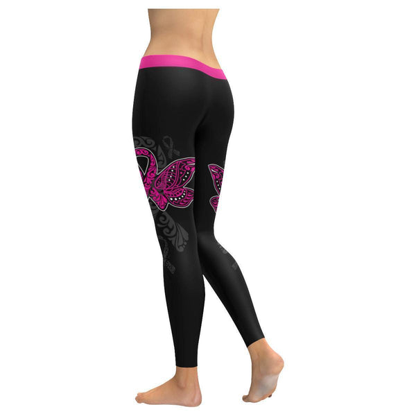 Pink Ribbon Breast Cancer Butterfly Awareness Tribal Tattoo UPF40 Women Leggings-JoyHip.Com