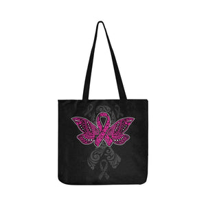 Pink Ribbon Butterfly Tattoo Breast Cancer Awareness Reusable Canvas Produce Bag-One Size-Black-JoyHip.Com