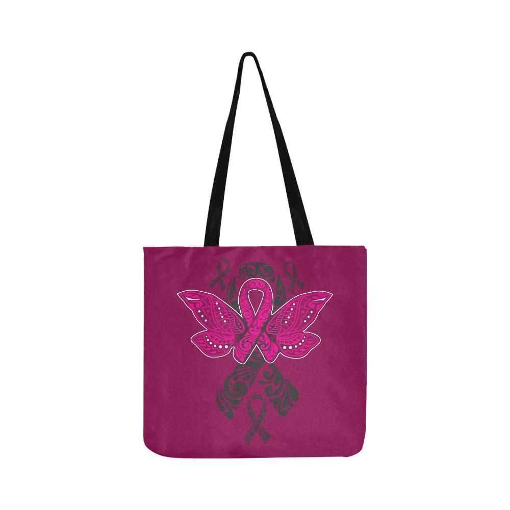 Pink Ribbon Butterfly Tattoo Breast Cancer Awareness Reusable Canvas P