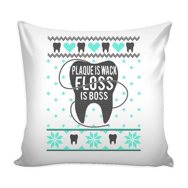 Plaque Is Wack Floss Is Boss Dentist Festive Funny Ugly Christmas Holiday Sweater Decorative Throw Pillow Cases Cover(4 Colors)-Pillows-White-JoyHip.Com
