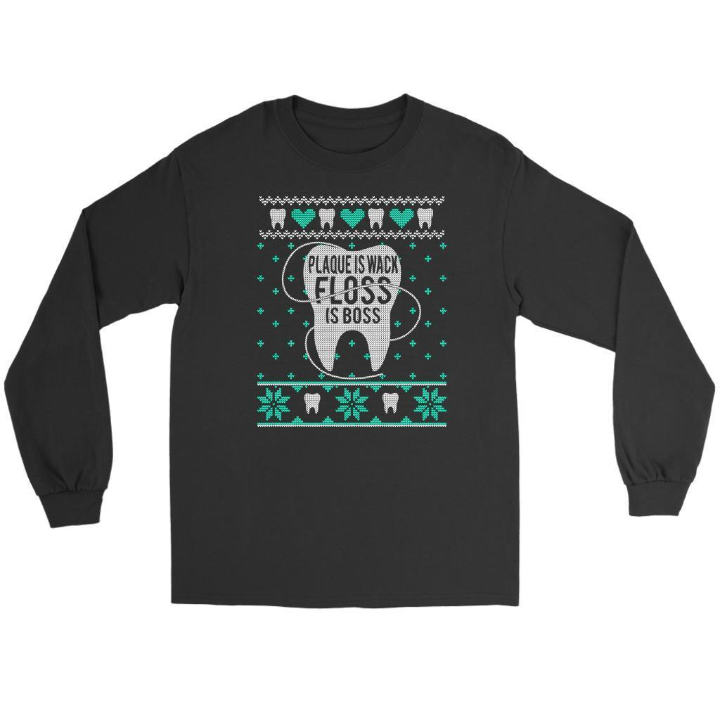 Plaque Is Wack Floss Is Boss Dentist Gag Gift Ugly Christmas Sweater Long Sleeve-T-shirt-Gildan Long Sleeve Tee-Black-JoyHip.Com