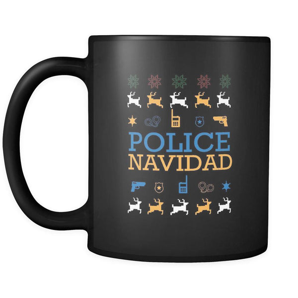 Police Navidad Thin Blue Line Law Enforcement Funny Ugly Christmas Holiday Sweater Black 11oz Coffee Mug-Drinkware-Ugly Christmas Sweater Black 11oz Coffee Mug-JoyHip.Com