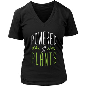 Powered By Plants Awesome Great Funny Vegan Gift Ideas Cozy Soft VNeck TShirts-T-shirt-District Womens V-Neck-Black-JoyHip.Com