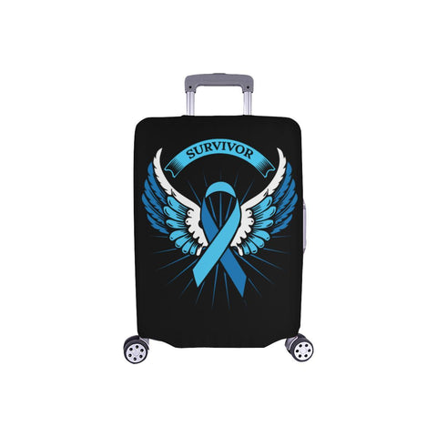 Prostate Cancer Awareness Survivor Angel Wings Travel Luggage Cover Suitcase-S-Black-JoyHip.Com
