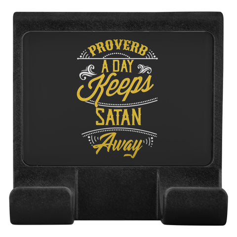 Proverb A Day Keeps Satan Away Christian Cell Phone Monitor Holder Laptop Desktop-Moniclip-Moniclip-JoyHip.Com