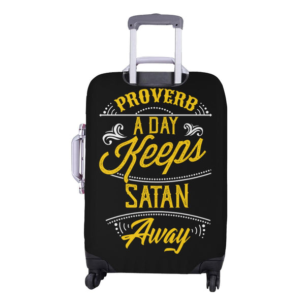 Proverb A Day Keeps Satan Away Christian Travel Luggage Cover Suitcase Protector-JoyHip.Com