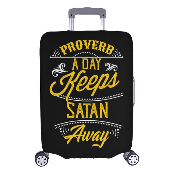 Proverb A Day Keeps Satan Away Christian Travel Luggage Cover Suitcase Protector-L-Black-JoyHip.Com
