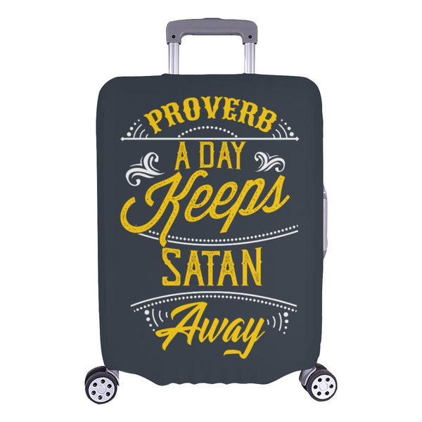 Proverb A Day Keeps Satan Away Christian Travel Luggage Cover Suitcase Protector-L-Grey-JoyHip.Com