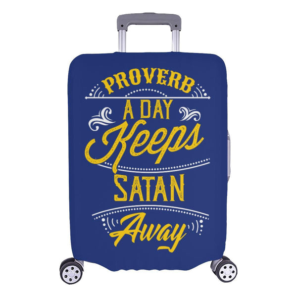 Proverb A Day Keeps Satan Away Christian Travel Luggage Cover Suitcase Protector-L-Navy-JoyHip.Com