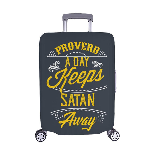 Proverb A Day Keeps Satan Away Christian Travel Luggage Cover Suitcase Protector-M-Grey-JoyHip.Com