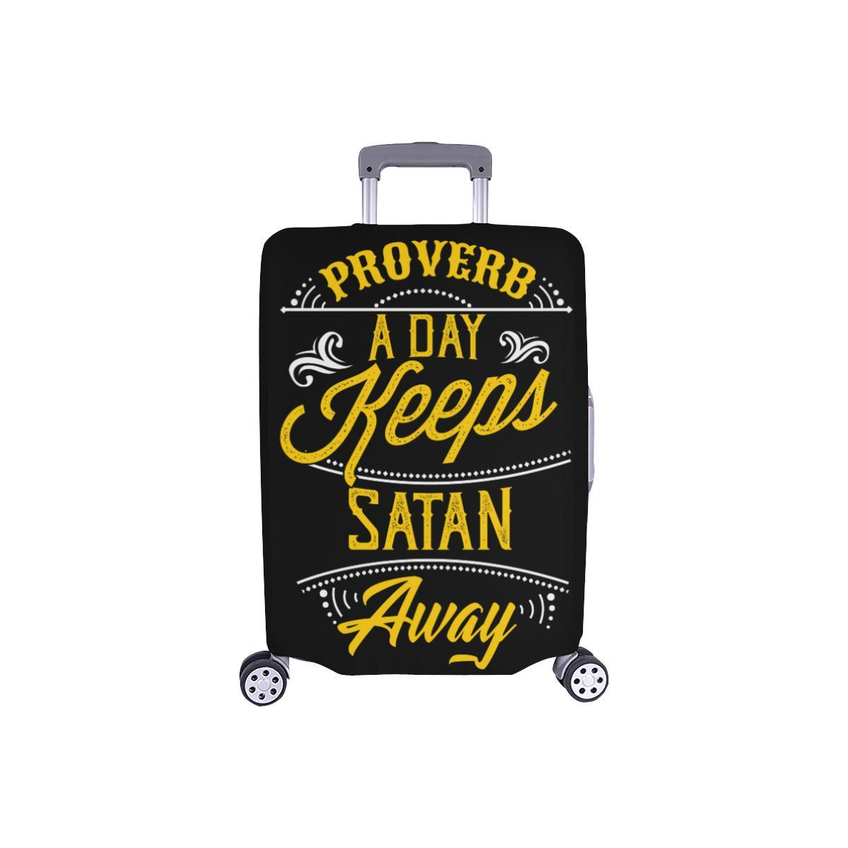 Proverb A Day Keeps Satan Away Christian Travel Luggage Cover Suitcase Protector-S-Black-JoyHip.Com