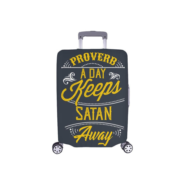Proverb A Day Keeps Satan Away Christian Travel Luggage Cover Suitcase Protector-S-Grey-JoyHip.Com