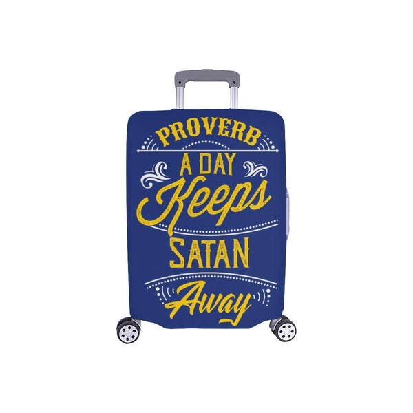 Proverb A Day Keeps Satan Away Christian Travel Luggage Cover Suitcase Protector-S-Navy-JoyHip.Com