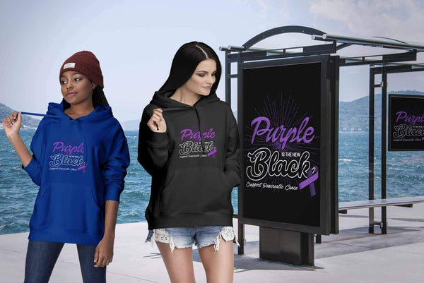 Purple Is The New Black Support Pancreatic Cancer Awareness Gift Ideas Hoodie-T-shirt-JoyHip.Com