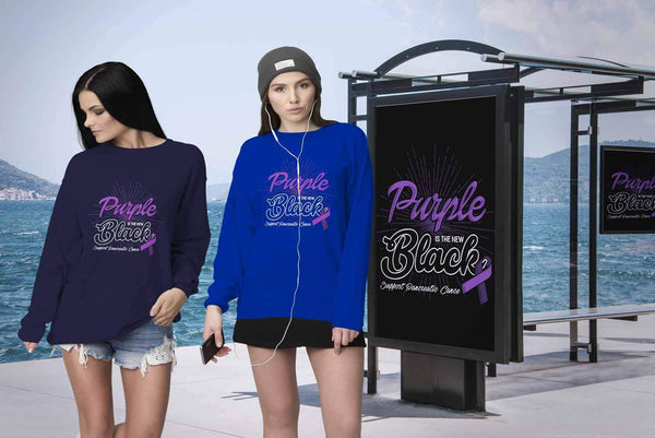 Purple Is The New Black Support Pancreatic Cancer Awareness Gift Ideas Sweater-T-shirt-JoyHip.Com