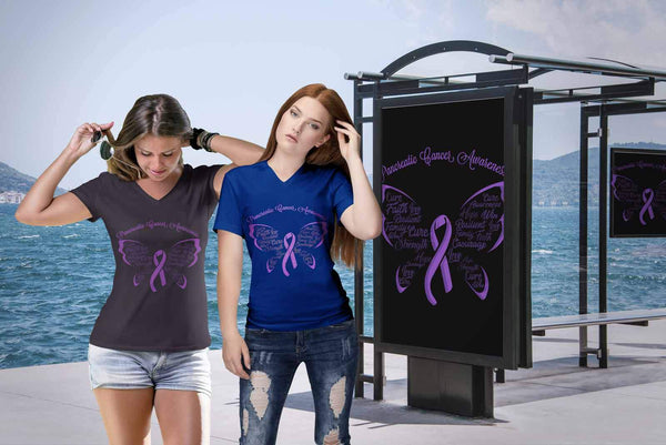 Purple Ribbon Butterfly Pancreatic Cancer Awareness Awesome Gift VNeck TShirt-T-shirt-JoyHip.Com