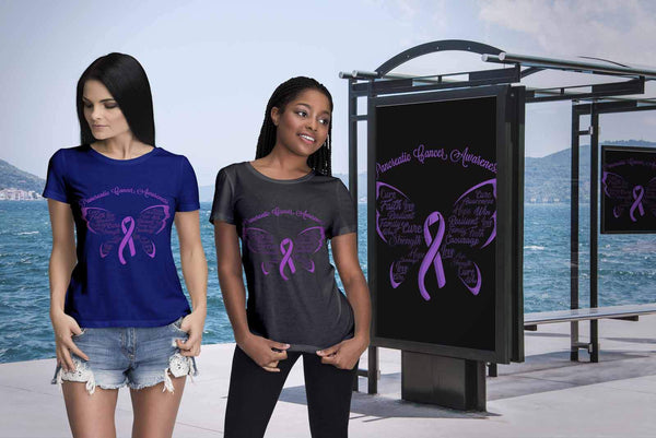 Purple Ribbon Butterfly Pancreatic Cancer Awareness Awesome Gift Women TShirt-T-shirt-JoyHip.Com