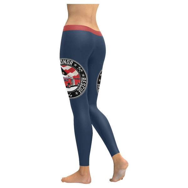 Retro Honor Rescue Serve Firefighter Fireman Ladderman Engineman Womens Leggings-JoyHip.Com