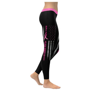 Retro USA Flag Fight Breast Cancer Awareness Pink Ribbon UPF40+ Womens Leggings-XXS-Black-JoyHip.Com