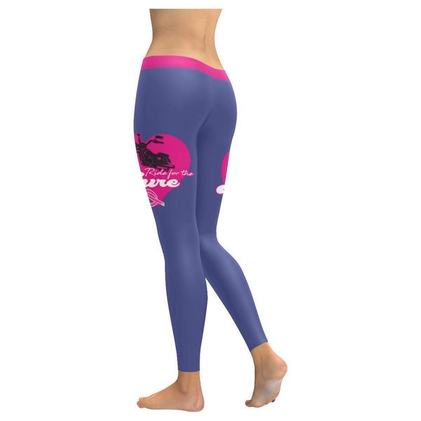 Ride For The Cure Breast Cancer Awareness Pink Ribbon UPF40+ Womens Leggings-JoyHip.Com