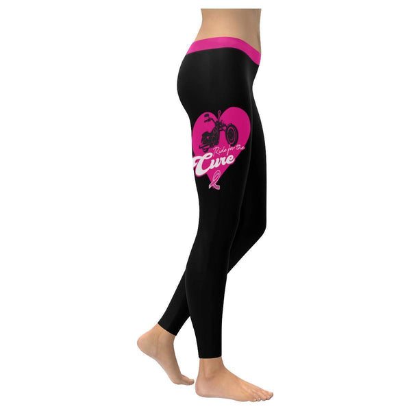 Ride For The Cure Breast Cancer Awareness Pink Ribbon UPF40+ Womens Leggings-XXS-Black-JoyHip.Com