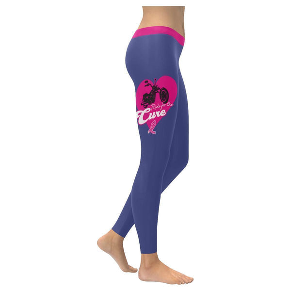 Ride For The Cure Breast Cancer Awareness Pink Ribbon UPF40+ Womens Leggings-XXS-Orchid-JoyHip.Com