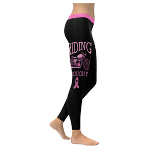 Riding Through It Motorcycle Breast Cancer Pink Ribbon Womens Leggings-XXS-Black-JoyHip.Com