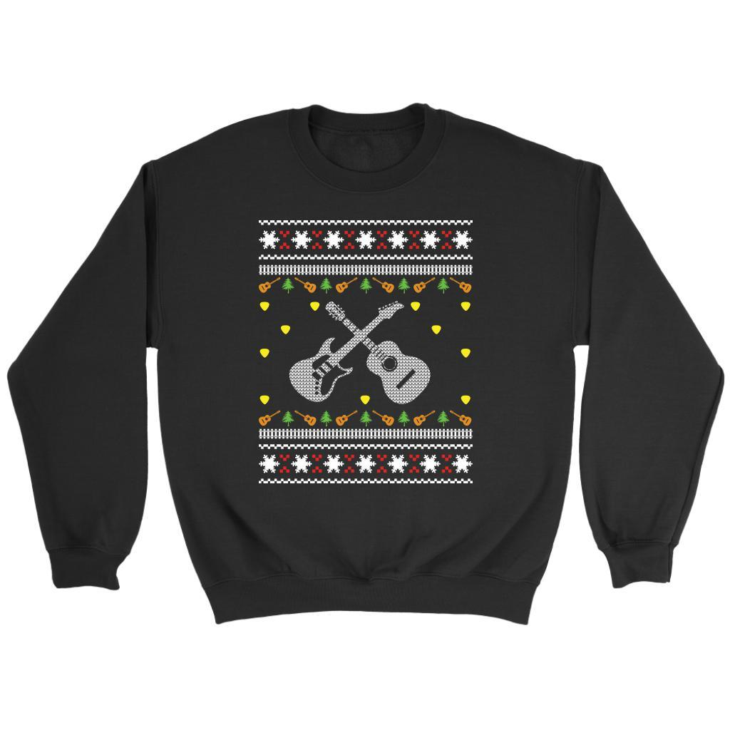 Rock Band Acoustic Guitarist Electric Guitar Player Ugly Christmas Gift Sweater-T-shirt-Crewneck Sweatshirt-Black-JoyHip.Com