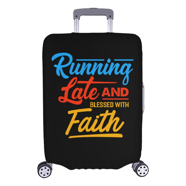 Running Late & Blessed With Faith Christian Travel Luggage Cover Suitcase-L-Black-JoyHip.Com