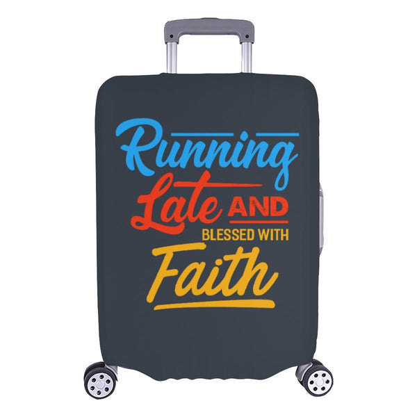 Running Late & Blessed With Faith Christian Travel Luggage Cover Suitcase-L-Grey-JoyHip.Com