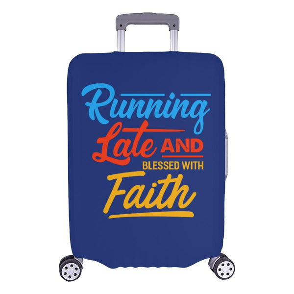 Running Late & Blessed With Faith Christian Travel Luggage Cover Suitcase-L-Navy-JoyHip.Com