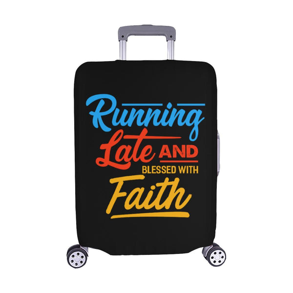 Running Late & Blessed With Faith Christian Travel Luggage Cover Suitcase-M-Black-JoyHip.Com