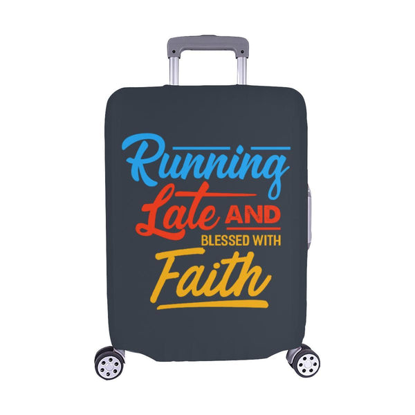 Running Late & Blessed With Faith Christian Travel Luggage Cover Suitcase-M-Grey-JoyHip.Com
