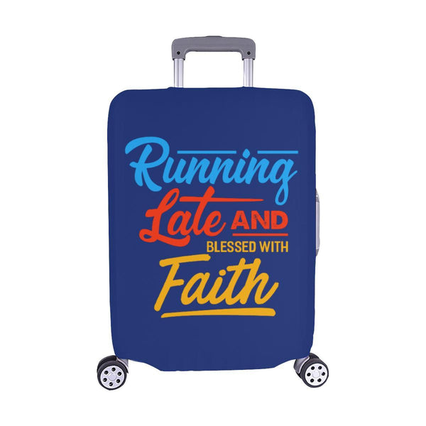 Running Late & Blessed With Faith Christian Travel Luggage Cover Suitcase-M-Navy-JoyHip.Com