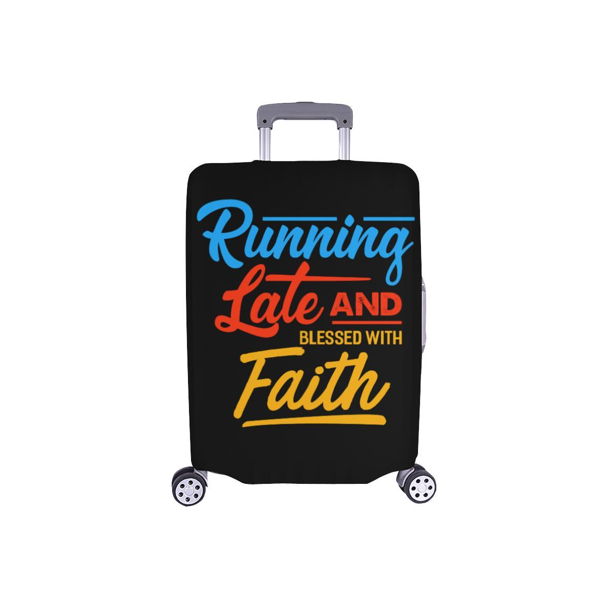 Running Late & Blessed With Faith Christian Travel Luggage Cover Suitcase-S-Black-JoyHip.Com