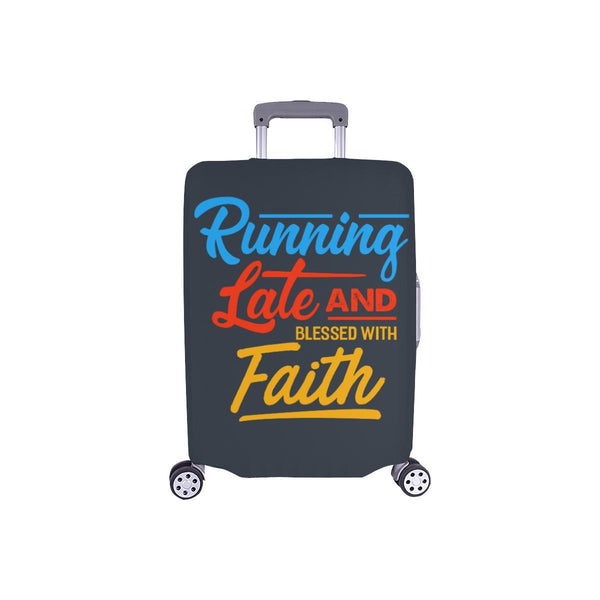 Running Late & Blessed With Faith Christian Travel Luggage Cover Suitcase-S-Grey-JoyHip.Com
