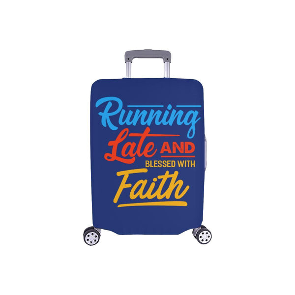 Running Late & Blessed With Faith Christian Travel Luggage Cover Suitcase-S-Navy-JoyHip.Com