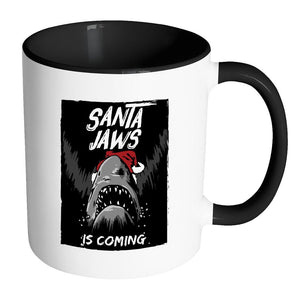 Santa Jaws Is Coming Festive Funny Ugly Christmas Holiday Sweater 11oz Accent Coffee Mug (7 Colors)-Drinkware-Accent Mug - Black-JoyHip.Com
